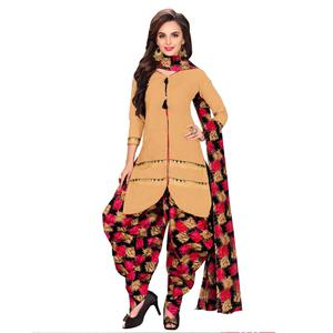 Starring Beige Colored Casual Printed Dress Material