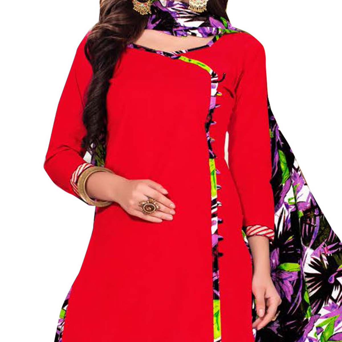 Surpassing Red Colored Casual Printed Dress Material