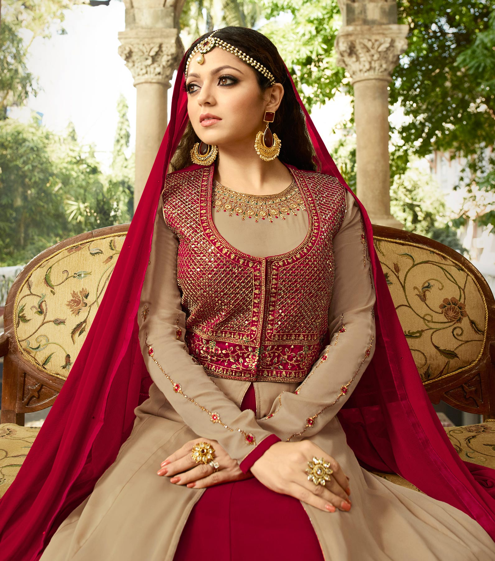 Attractive Beige-Maroon Colored Designer Embroidered Partywear Georgette Abaya Style Anarkali Suit
