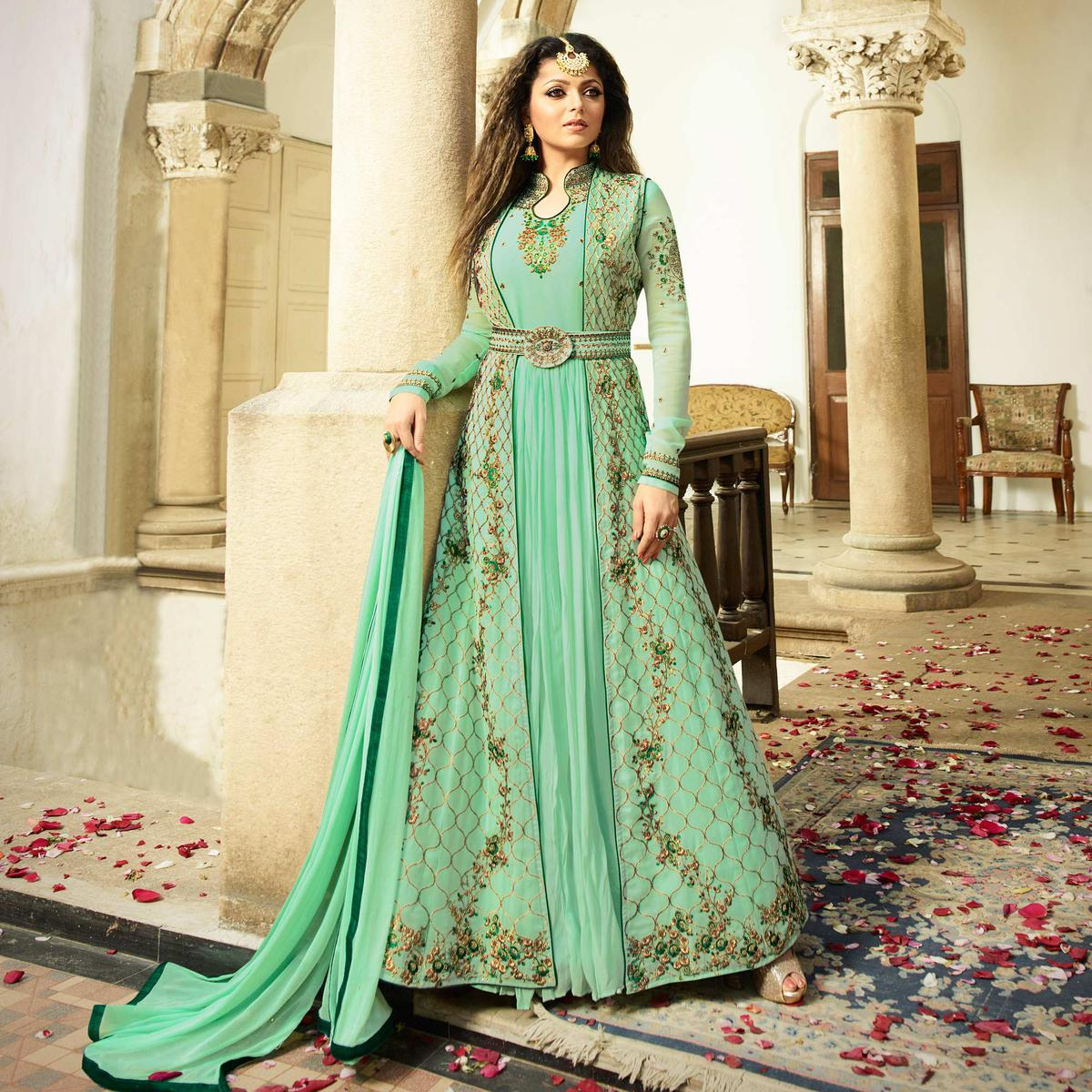 Dazzling Aqua Green Colored Designer Embroidered Partywear Georgette Abaya Style Anarkali Suit