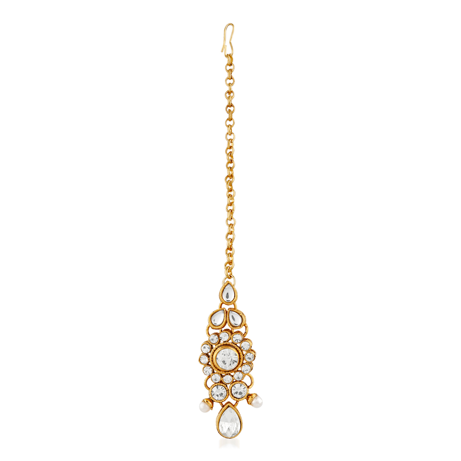 Splendid Design White Stone Pearl & Kundan Gold Finishing Necklace Set with Maang Tikaa