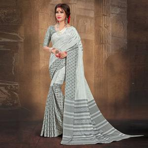 Dignified Grey Colored Tussar Silk Saree