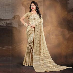 Poised Beige Colored Tussar Silk Saree