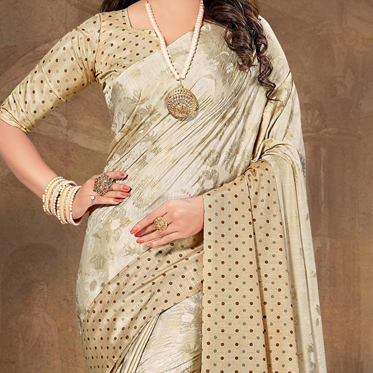 Marvellous Beige Colored Tussar Silk Saree