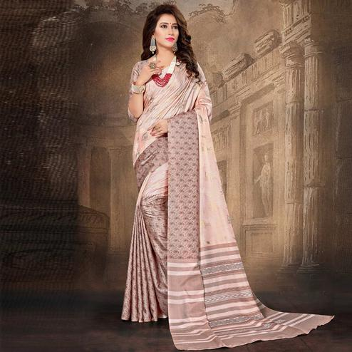 Chic Pink Colored Tussar Silk Saree