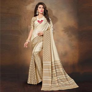 Alluring Cream Colored Tussar Silk Saree