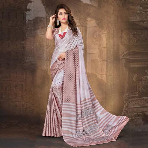 Astounding Pink Colored Tussar Silk Saree