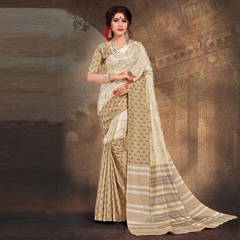 Calming Cream Colored Tussar Silk Saree