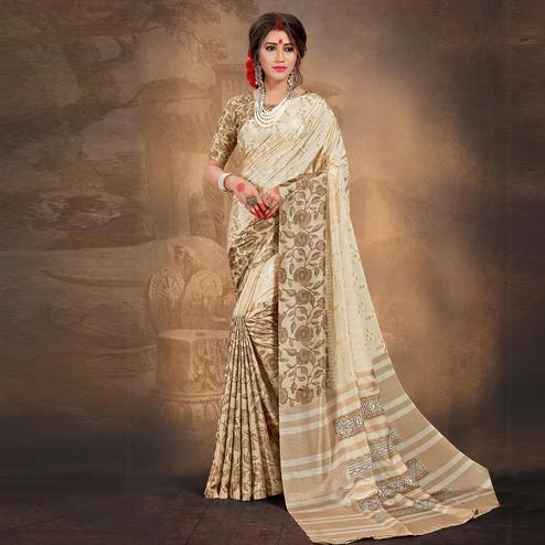 Delightful Cream Colored Tussar Silk Saree