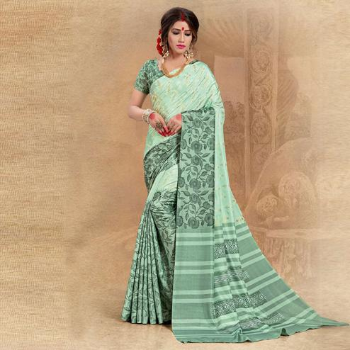 Energetic Green Colored Tussar Silk Saree