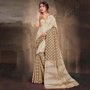 Passionate Cream Colored Tussar Silk Saree
