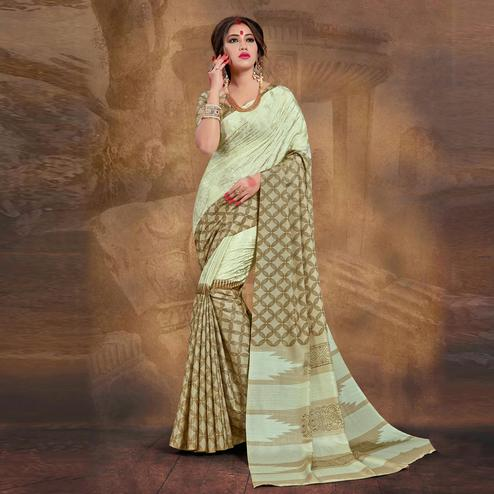 Ravishing Green Colored Tussar Silk Saree