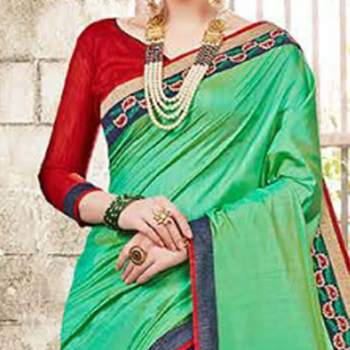 Sophisticated Green Colored  Embroidered Party Wear Half-Half Satin-Georgette Saree