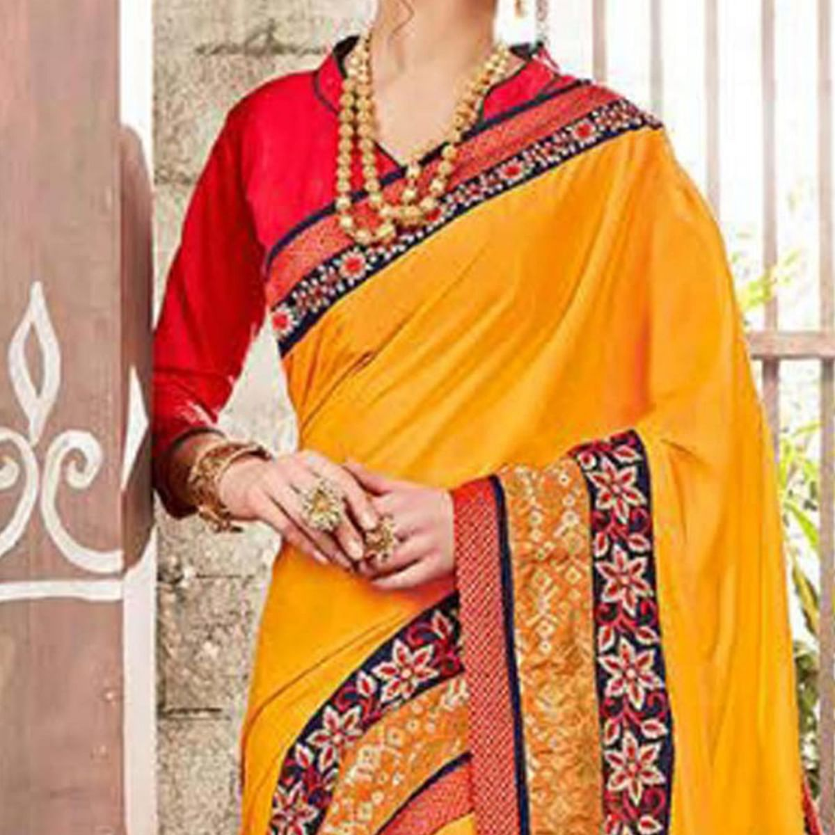 Fresh And Bright Yellow Colored Embroidered Fancy Satin-Georgette Saree