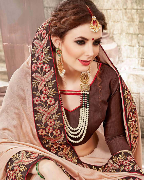 Trend-Setting Beige Colored  Embroidered Party Wear Chiffon Saree