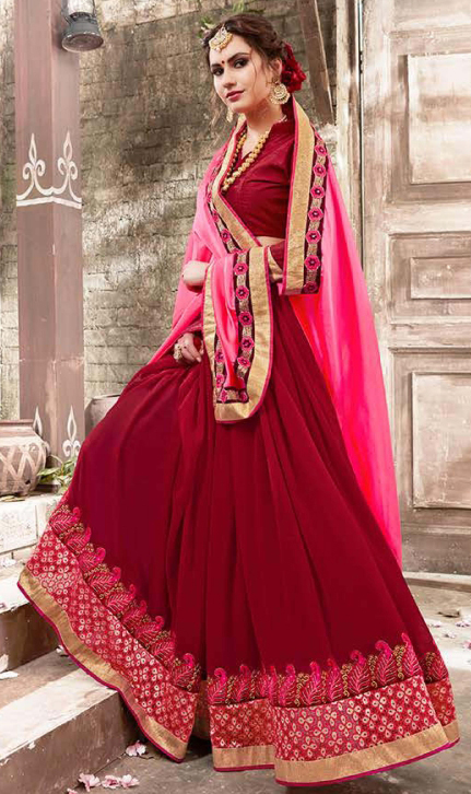 Majestic Maroon Colored Embroidered Party Wear Half-Half Georgette Saree