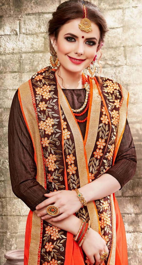 Breathtaking Orange Colored Embroidered Party Wear Chiffon Saree
