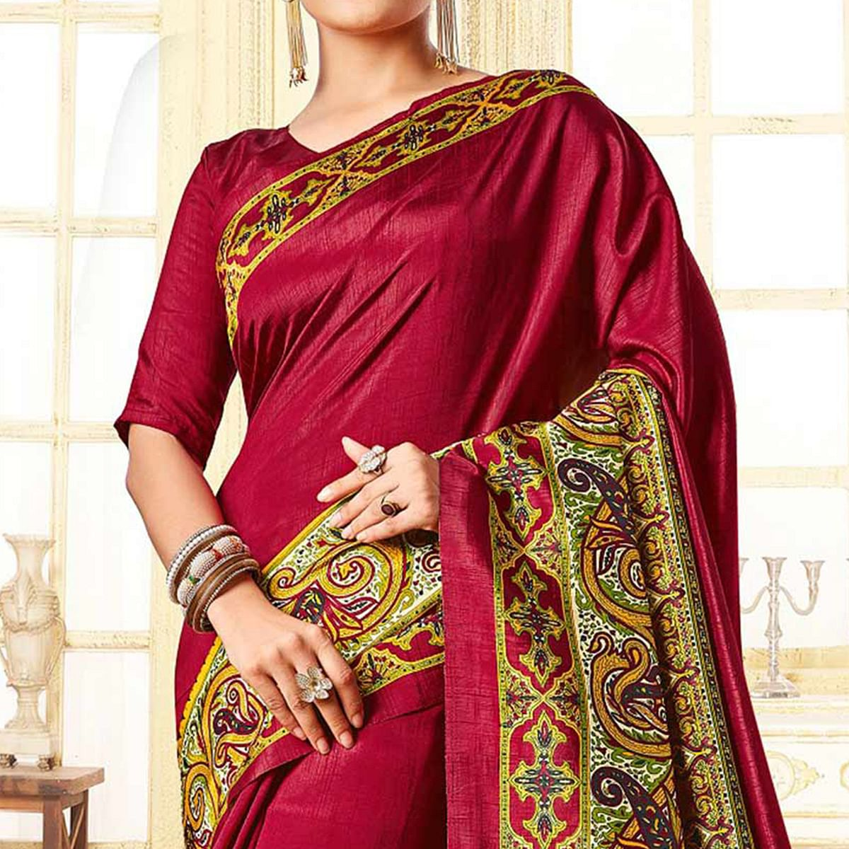 Red Traditional Design Printed Silk Saree