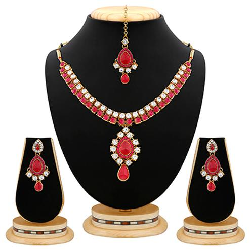 Enchanting Pink Stone & Kundan Gold Finishing Necklace Set with Maang Tikaa
