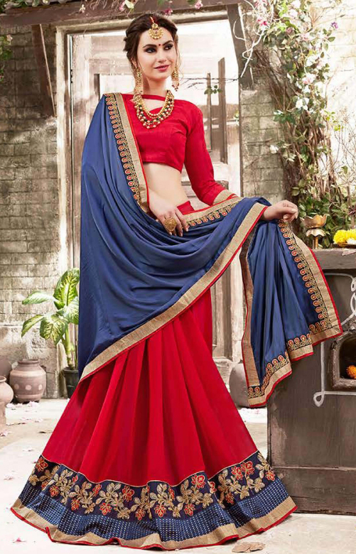 Calming Blue Colored Embroidered Party Wear Half-Half Satin-Georgette Saree