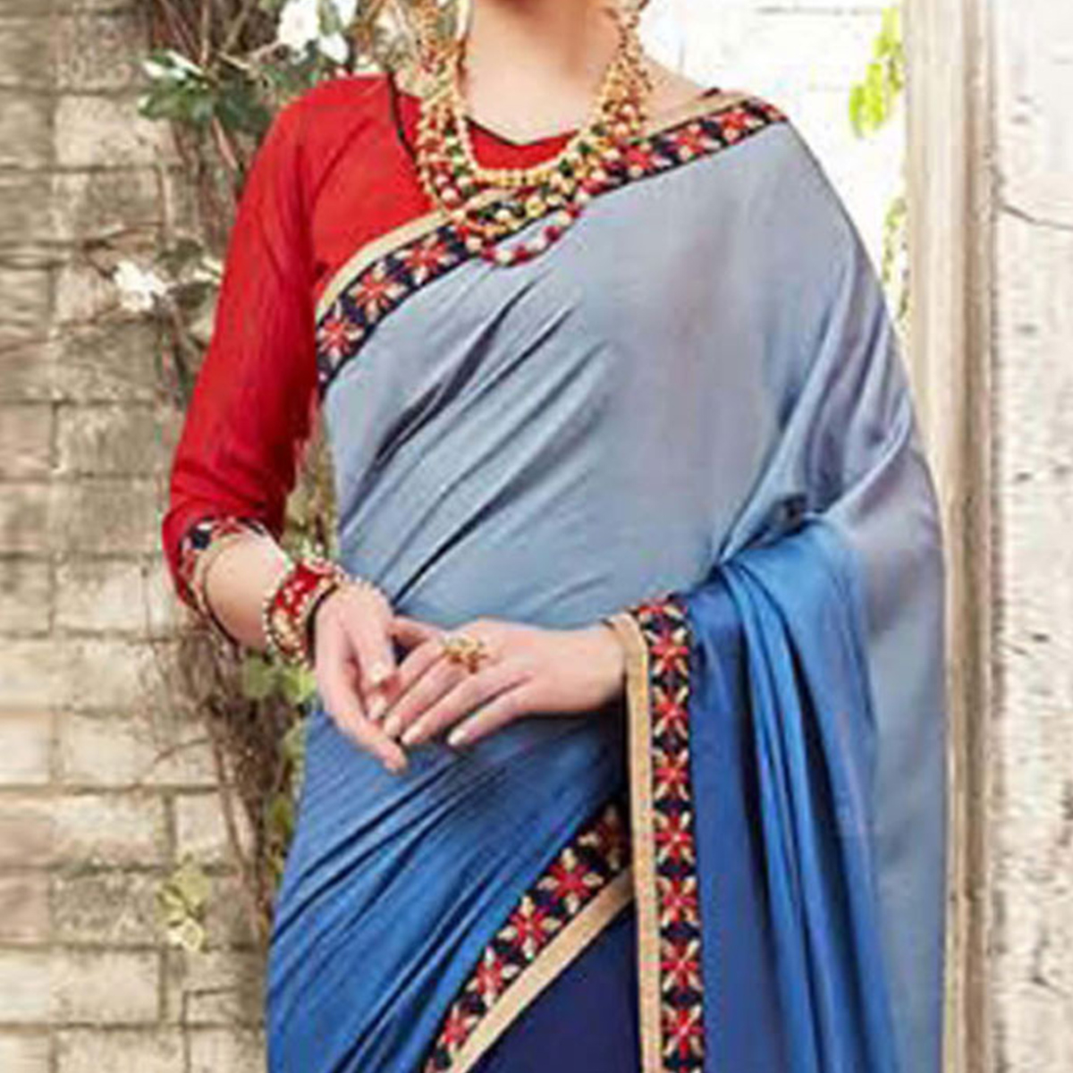 Crisp Blue Colored Ombre Embroidered Party Wear Half-Half Satin-Georgette Saree