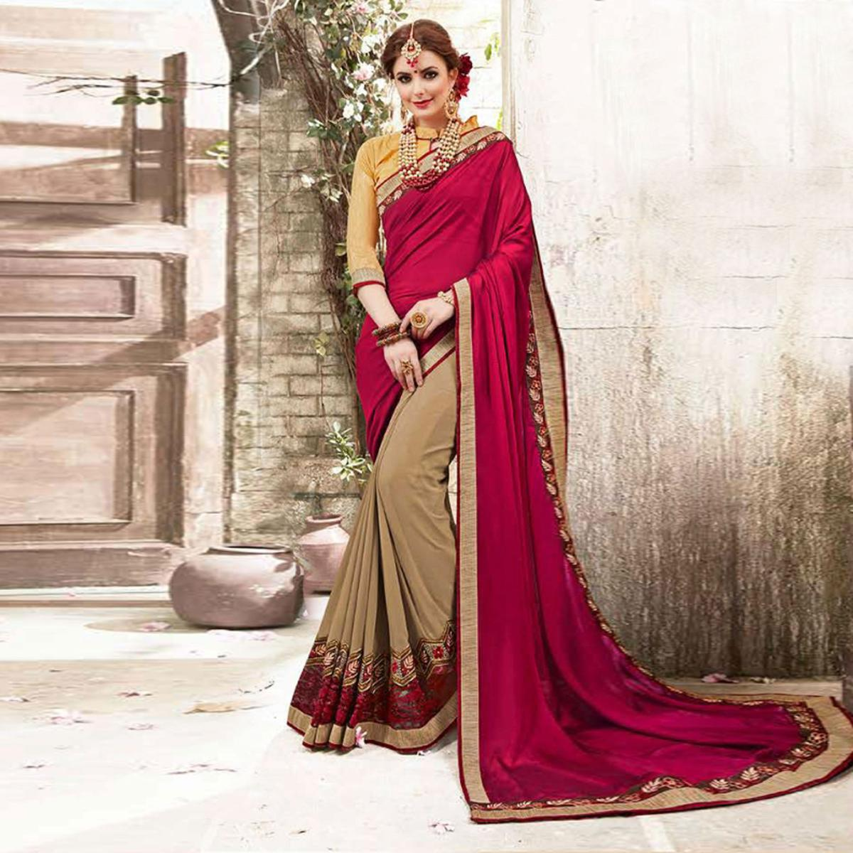 Poised Beige Colored Embroidered Fancy Satin-Georgette Saree