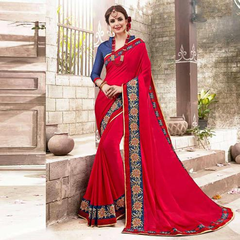 Rejuvenating Red Colored Embroidered Party Wear Chiffon Saree