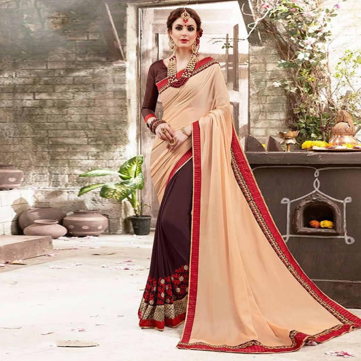 Rich Brown Colored Embroidered Party Wear Half-Half Georgette Saree