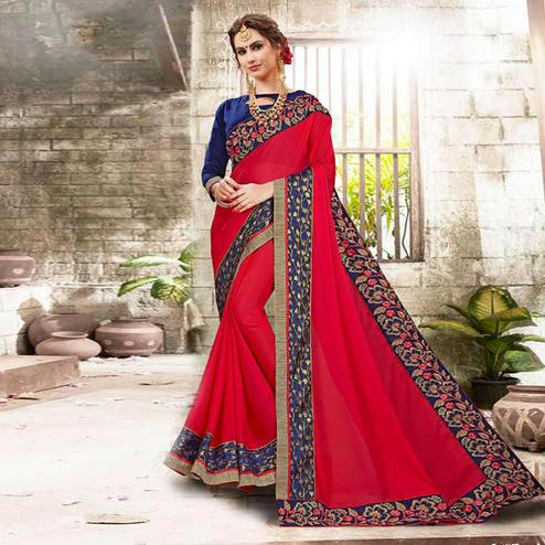 Delightful Red Colored Embroidered Party Wear Georgette Saree