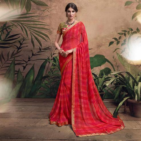 Scarlet Red Colored Digital Printed Georgette Designer Saree