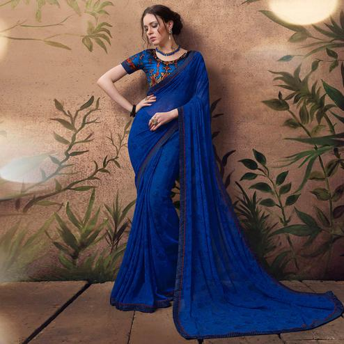 Vibrant Blue Colored Digital Printed Georgette Designer Saree