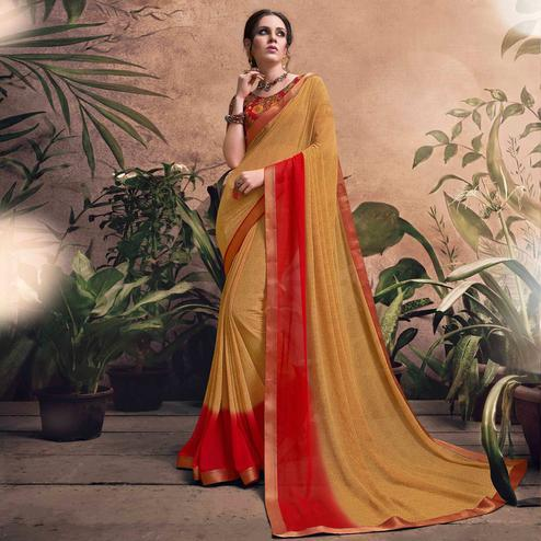 Mystical Yellow Colored  Digital Printed Georgette Designer Saree