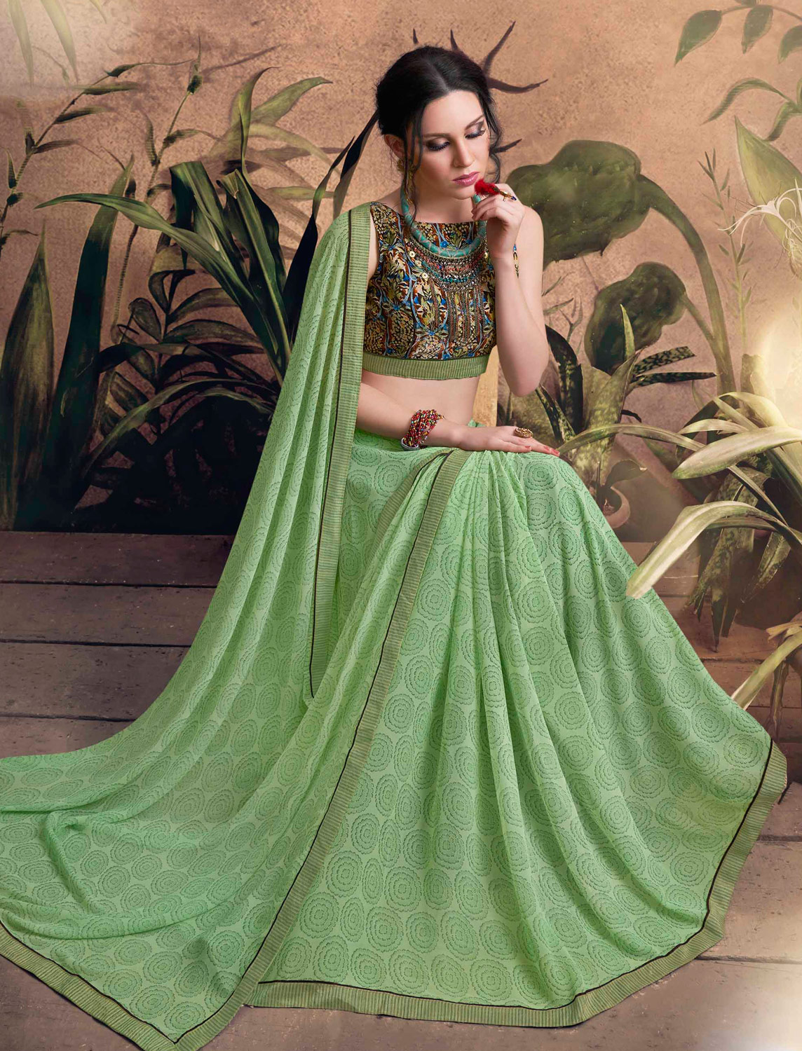 Exceptional Green Colored Digital Printed Georgette Designer Saree.