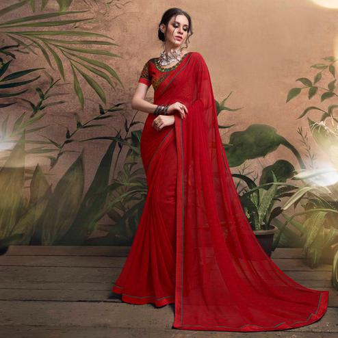 Fearless Red Colored Digital Printed Georgette Designer Saree.
