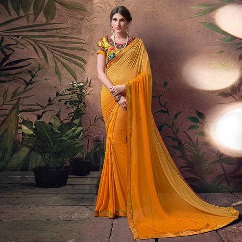 Blazing Yellow Colored Digital Printed Georgette Designer Saree.