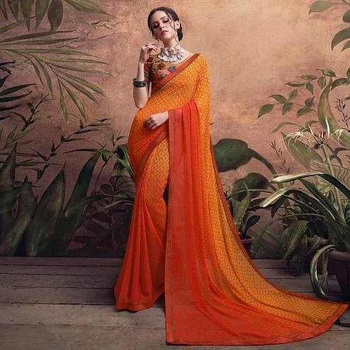 Stunning Orange Colored Digital Printed Georgette Designer Saree.