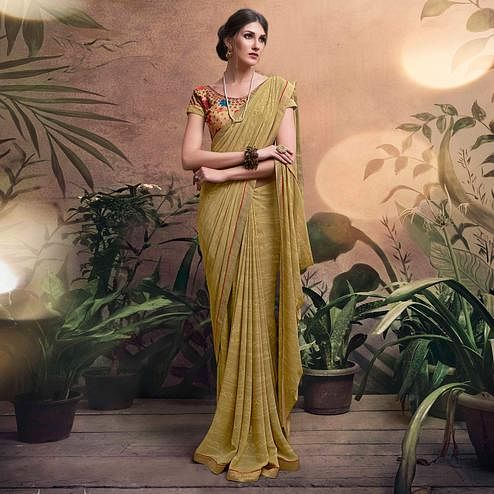 Elegant Beige Colored Digital Printed Georgette Designer Saree.