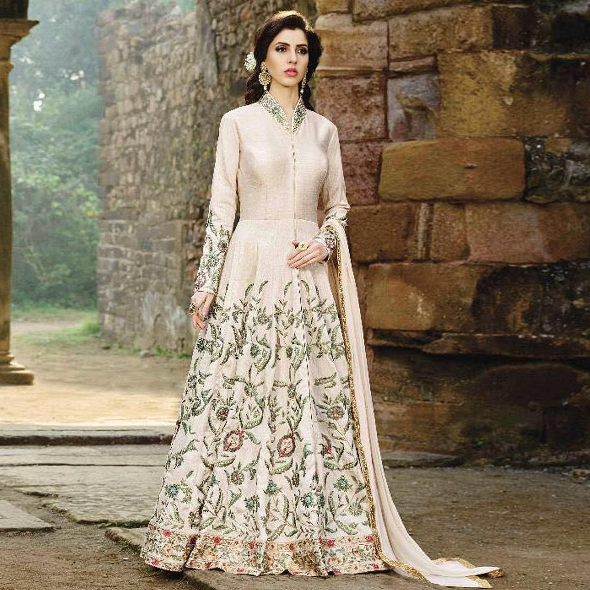 Astounding White Colored Designer Embroidered Party Wear Mulberry Silk Anarkali Suit