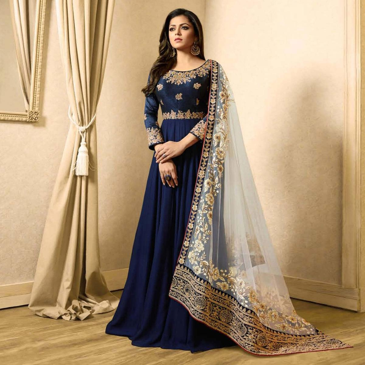 Charming Blue Colored Designer Embroidered Party Wear Georgette Anarkali Suit