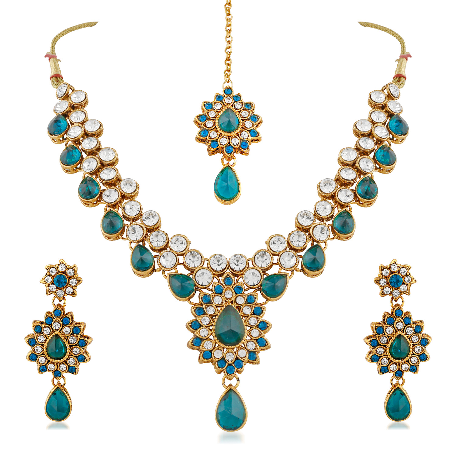 Party Wear Design Rama Stone And Kundan Gold Finishing Necklace Set with Maang Tikaa