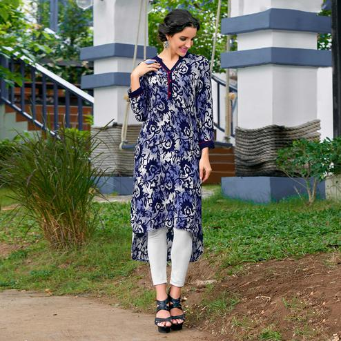 Stylish Blue Colored Casual Printed Rayon Cotton Kurti