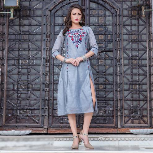 Trendy Gray Colored Embroidered Art Silk Kurti