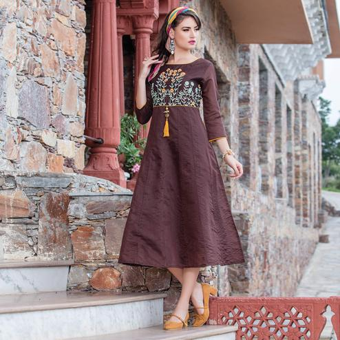Classy Brown Colored Embroidered Art Silk Kurti