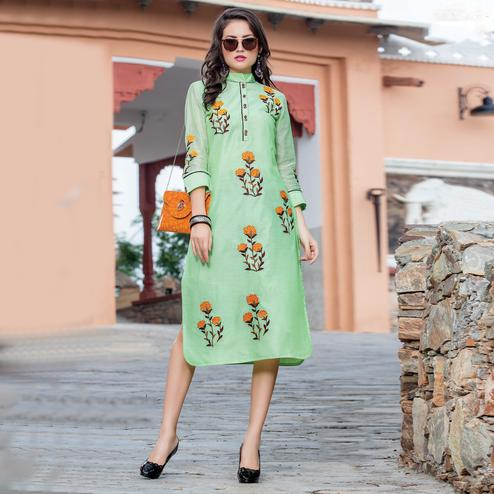Attractive Pista Green Colored Embroidered Art Silk Kurti