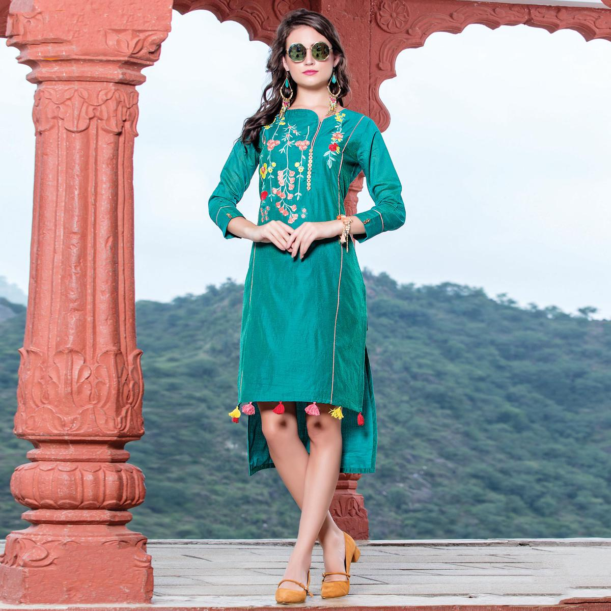 Lovely Turquoise Green Colored Embroidered Art Silk Kurti