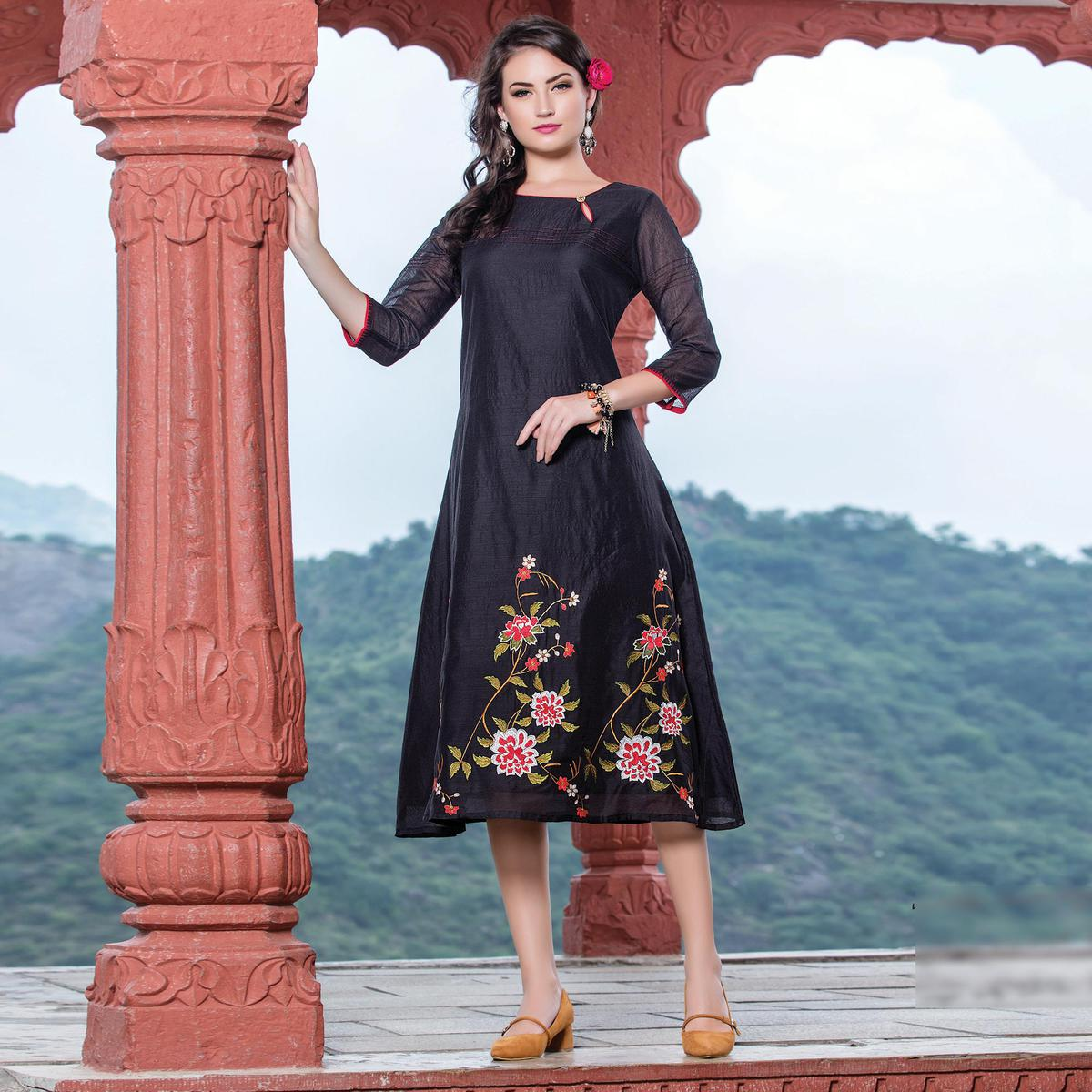 Bold Black Colored Embroidered Art Silk Kurti