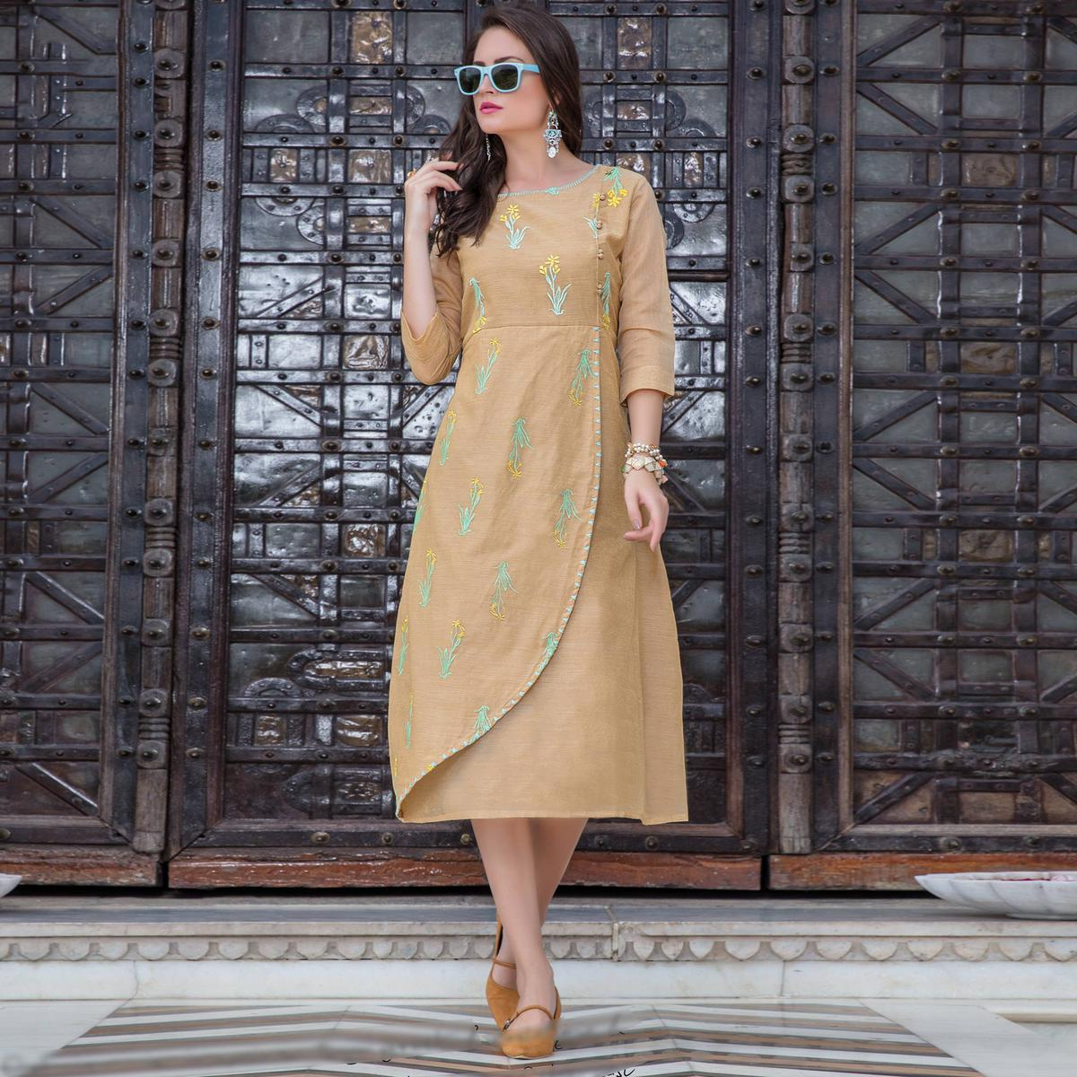 Pleasant Beige Colored Embroidered Art Silk Kurti