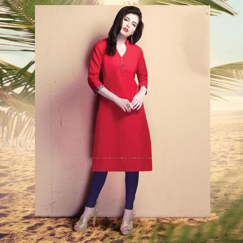 Glowing Red Colored Casual Wear Cotton Kurti