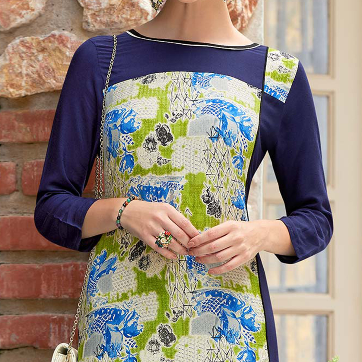 Beautiful Navy Blue Colored Casual Printed Rayon Cotton Kurti