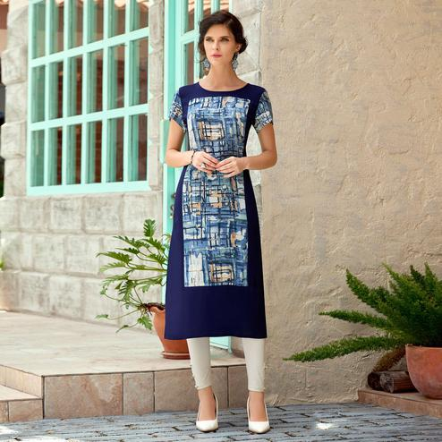 Demanding Navy Blue Colored Casual Printed Rayon Cotton Kurti